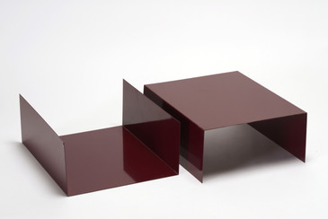 Pair of 1960s Aluminum Paper Trays or Bookends Refinished in Wine Red, Free U.S. Shipping