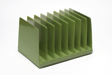 SOLD - Mid Century Desktop File Holder, Refinished in Sage Green, Free U.S. Shipping