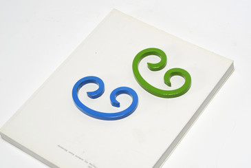 Reclaimed Steel Paper Weights Refinished in Bright Blue and Green, Free U.S. Shipping