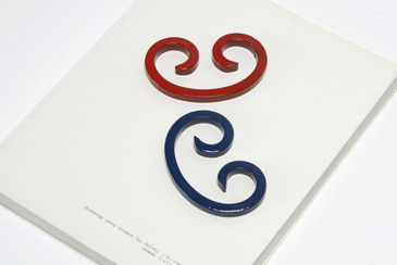 Reclaimed Steel Paper Weights Refinished in Navy Blue and Ruby Red, Free U.S. Shipping