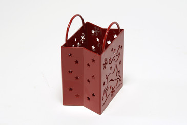 Christmas Votive Holder, Steel Gift Bag, Refinished in Red, Free U.S. Shipping