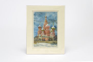 Original Watercolor Painting, St. Petersburg Russia, Mounted in Window Mat, Free U.S. Shipping