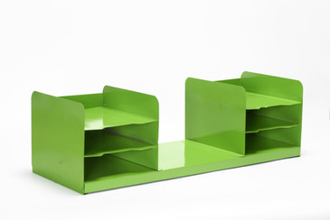 SOLD - Extra Large Mid Century Tanker Office Organizer, Refinished in Lime Green, Free U.S .Shipping
