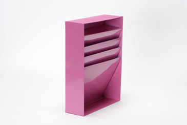 Vintage Vertical File Holder/ Magazine Rack Refinished in Pink, Free U.S. Shipping