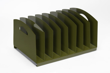 Mid Century Desktop File Holder, Refinished in Olive Green, Free U.S. Shipping