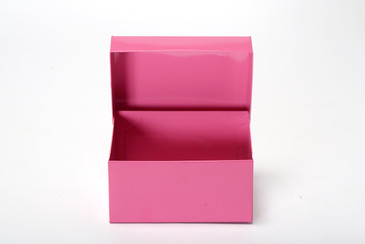 SOLD - Mid Century Metal Recipe Card Storage Box, Refinished in Pink, Free U.S. Shipping