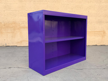 Mid Century Steel Tanker Office Bookshelf, Refinished in Purple, Free U.S. Shipping