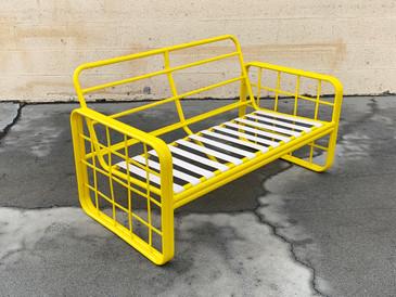 1980s Modern Patio Loveseat, Refinished in Mellow Yellow, Free U.S. Shipping