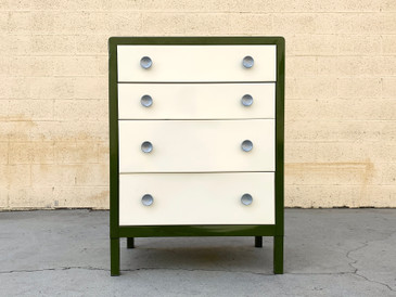1950s Norman Bel Geddes Dresser by Simmons, Refinished in Army and Pearl