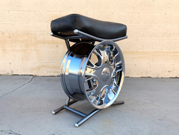Vintage Custom Chrome and Leather Tire Rim Seat, Free U.S. Shipping