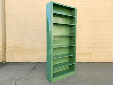 1970s Tall Steel Tanker Bookcase, Refinished to Order in Arsenic Green