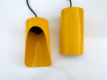 SOLD - Pair of Groovy 1970s Pendant Lights, Refinished in Yellow Ochre, Free U.S. Shipping