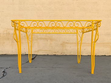 SOLD - 1970s Spanish Colonial Patio Table, Refinished in Yellow Ochre