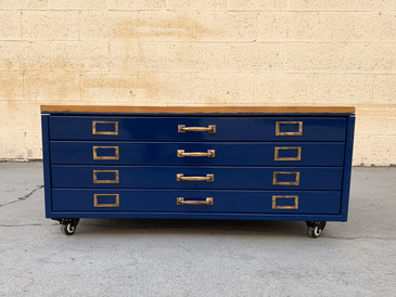 1940s Very Rare Flat File, Refinished as Coffee Table with Reclaimed Wood