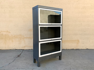 Mid Century Steel and Glass Lawyer Bookcase, Refinished in Natural Steel and White