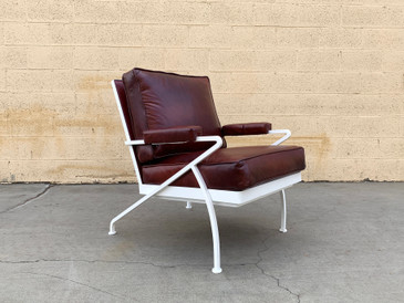 Custom Made Steel and Leather Atomic Armchair in Burgundy and White
