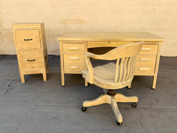 1920s 3-Piece Oak Office Furniture Set with Desk, Chair, File Cabinet, Free U.S. Shipping