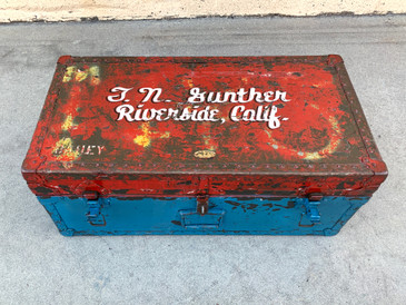 Vintage Army Issue Trunk with Custom Lettering T.N. GUNTHER, RIVERSIDE, CA, Free U.S. Shipping