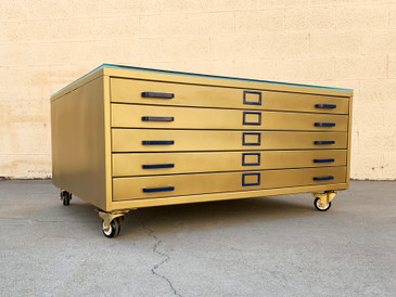 Vintage Flat File Coffee Table Custom Refinished in Sun Gold