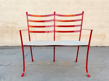 SOLD - Vintage Steel Tandem Bench/ Love Seat Refinished in Ruby Red