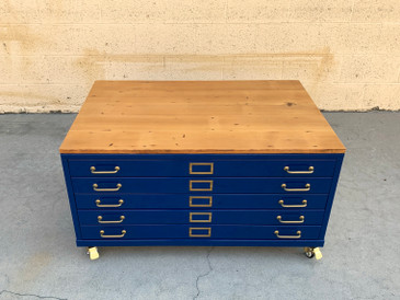 Vintage Flat File Coffee Table Custom Refinished in Midnight Blue with Reclaimed Wood