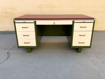 Rare 1940s Tanker Desk by Security Steel Equipment Co., Refinished