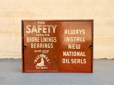 SOLD - 1950s Industrial Metal Workshop Cabinet, National Oil Seals, Free U.S. Shipping