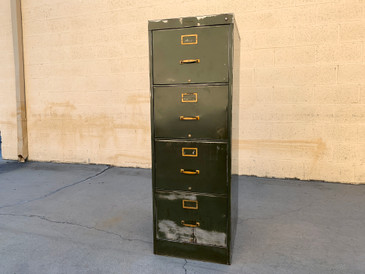 1940s Large File Cabinet with Brass Hardware by Steel Furniture, Free U.S. Shipping