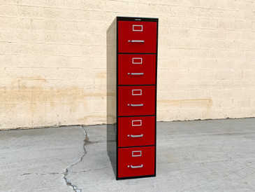 Mid Century Steelcase File Cabinet, Refinished in Ruby Red and Black