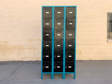 1970s Large Cubby Locker Unit, Refinished in Teal and Black