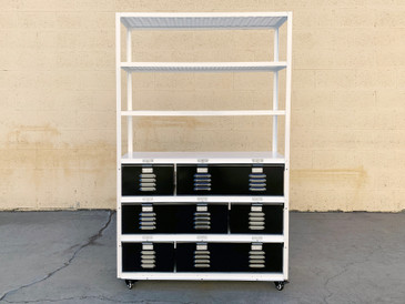 Custom 3 X 3 Locker Basket Unit on Casters With Expanded Metal Shelves