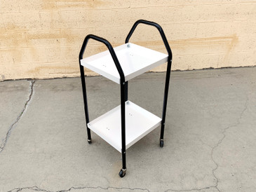 Vintage Industrial Task Cart Refinished in Black and White, Free U.S. Shipping