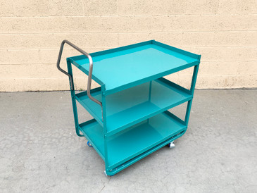 Vintage Stainless Steel Medical or Bar Cart Refinished in Tiffany Blue