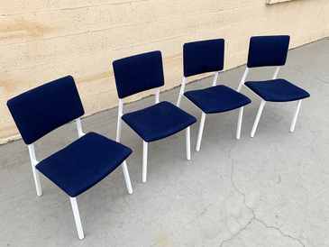 Set of 4 Mid Century Steelcase Chairs, Refinished in Gloss White and Denim