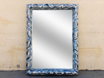 Local Pickup - Vintage Resin Wall Mirror Refinished in Metallic Silver