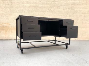 Hybrid Tanker Desk Modular Work Station in Black on Black