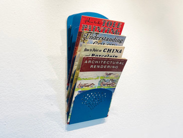 Super Retro Wall Mounted Magazine Rack, Refinished in Moon Blue, Free U.S. Shipping