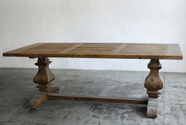 SOLD - Large Farmhouse Trestle Table, Douglas Fir, Orig. $1600