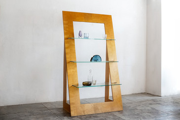 SOLD - 1970s Vintage Triangle Bookcase, Wood and Glass