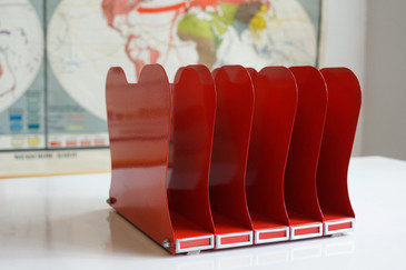 SOLD - Mid Century Desktop File Holder, Refinished in Red