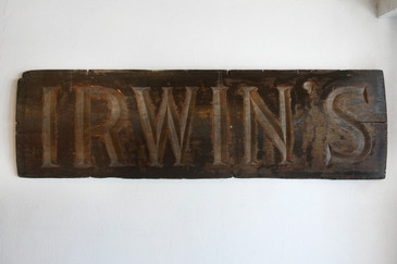 SOLD - IRWIN'S, Antique Carved Wood Sign, c. 1930s