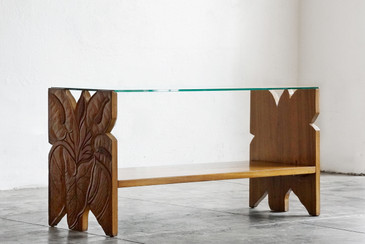 SOLD - Gumps Hawaii Carved Mango Wood Coffee Table, 1930s