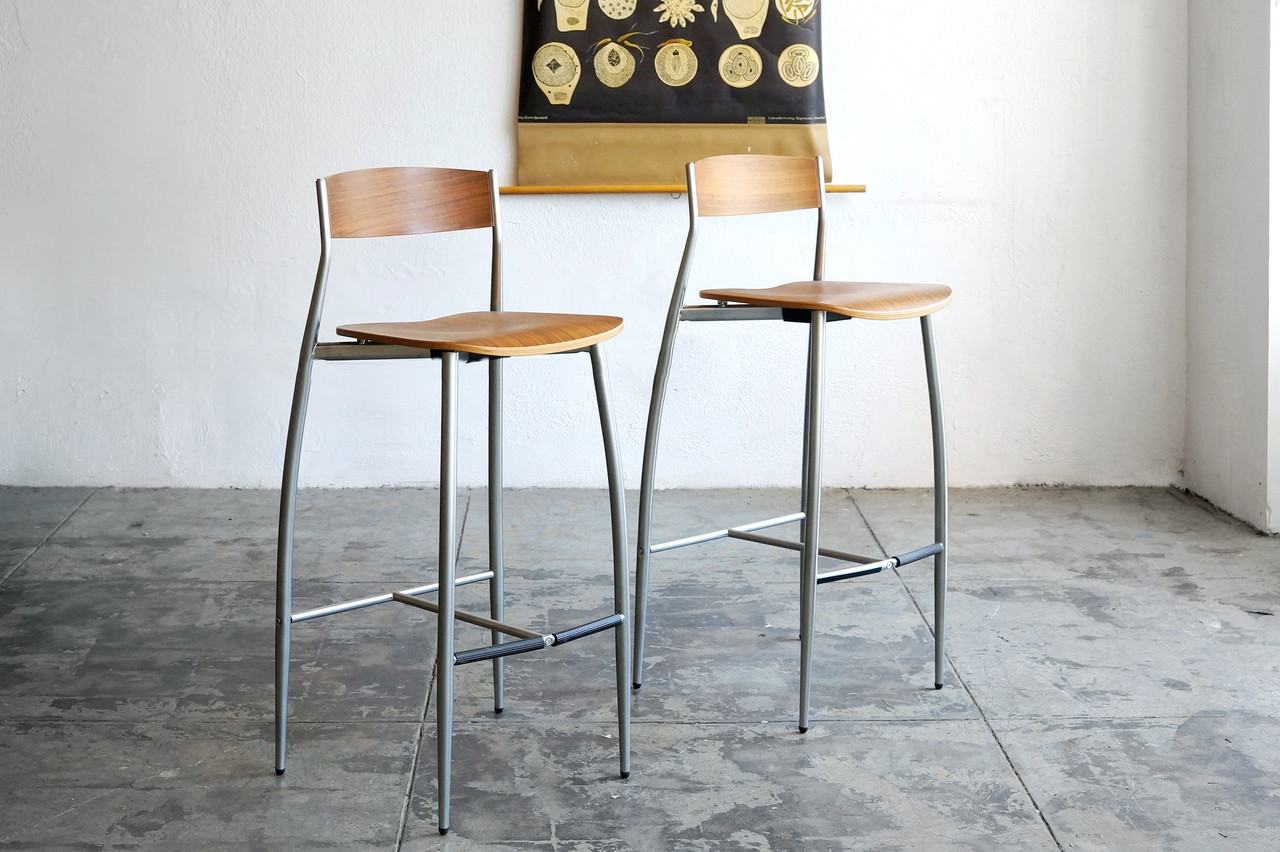 Sold Design Within Reach Baba Barstools Walnut And Chrome Rehab