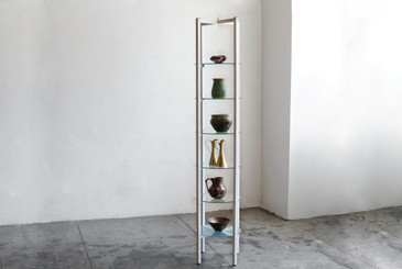 SOLD - Vintage Display Shelving Unit, Glass and Steel, Refinished