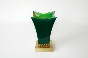 SOLD - 1940's Hollywood Regency Table Lamp, Ceramic and Brass