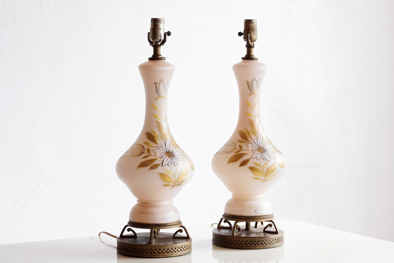 Sold West German Milk Glass Table Lamps With Deco Brass Base