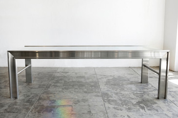SOLD - Custom-made Stainless Steel and Glass Conference Table