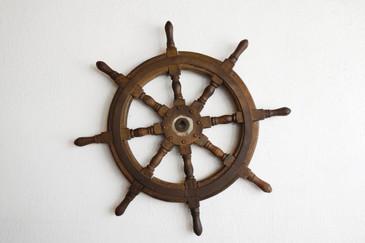 SOLD - Antique Ship's Wheel, Teak Wood, c. Late 19th