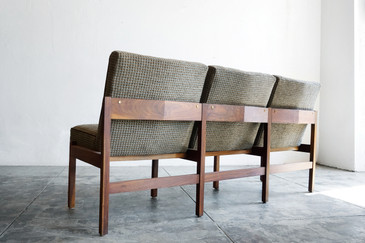 SOLD - Mid-Century Modern Three Seat Sofa Bench, Refinished