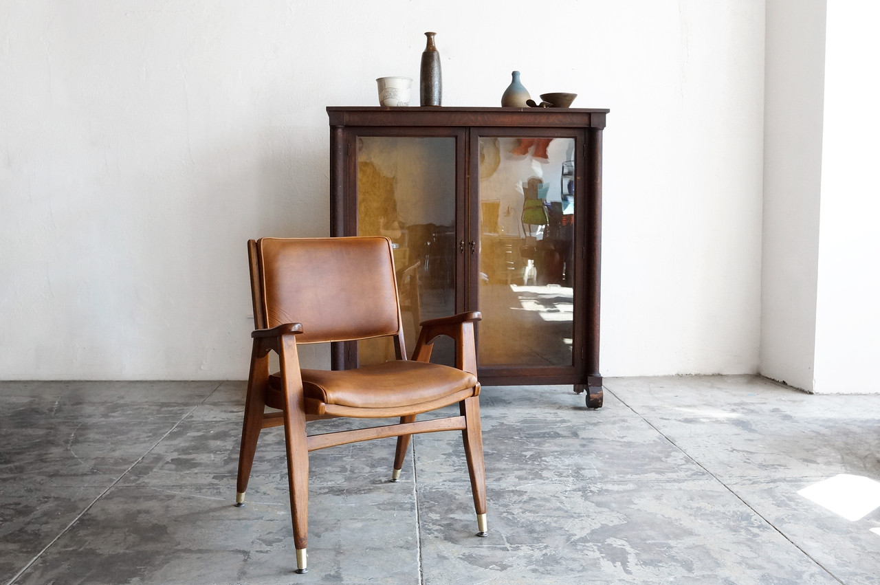 Picture of: Sold Mid Century Modern Wood Armchair With Leather Seat Rehab Vintage Interiors